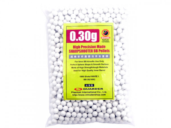 """1.000 6mm BBs 0,30g """"Guarder H.P."""" - White / GUA30HP1000WH"""